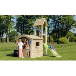 Parque infantil de madera con columpio
