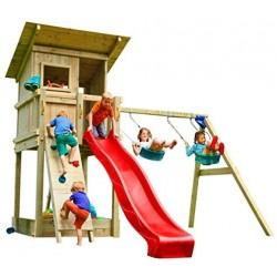 parque infantil de madera con tobogán y columpios