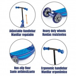 scooter azul detalles juguemus